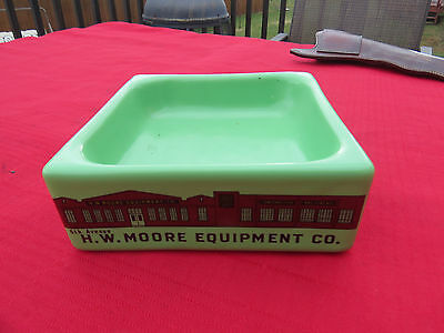 Rare Coors Pottery Jadeite Green Advertising Dish /Bowl-H.W.Moore Equipment Co.