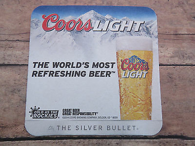 Beer Brewery Coaster ~<>~ 2014 COORS Brewing Light = The Silver Bullet ~ Rockies
