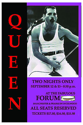 Freddie Mercury: Queen At the Forum in Los Angeles Concert Poster 1982  12x18