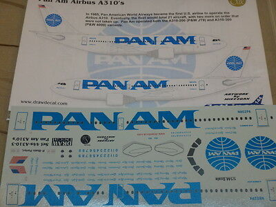 ******Draw 1:144 scale PAN AM Airbus A310 with 21 different registrations
