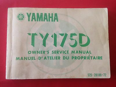 Yamaha TY175D Owners Service Manual 1977 Trials Trail