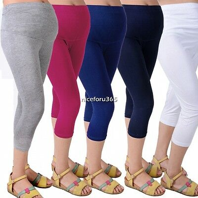 Fashion Candy Color Pregnant Women Leggings Cotton Pants Maternity 3/4 Length