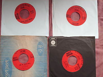 """MARTY ROBBINS 4 Country 7"""" SINGLES inc ONE OF THESE DAYS etc"""