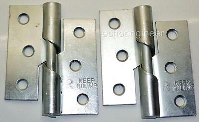 "Pair of 3"" / 75mm Zinc Plated Steel RIGHT HAND Rising Butt Hinges + Screws"