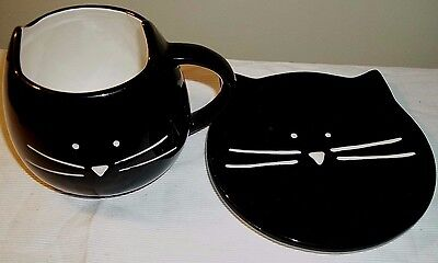 tag Ceramic Porcelain Figural  Black Cat Coffee Mug and Plate Set HTF