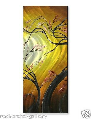 Abstract Painting on Metal Wall Art Sculpture Buds of Fire by Megan Duncanson
