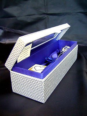 11 Inch Silver Dipped Real Rose in a Silver Egyptian Casket in Blue Satin Back