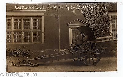 Military, Wwi, The Suffolks, German Machine Captured, 1917, Rp