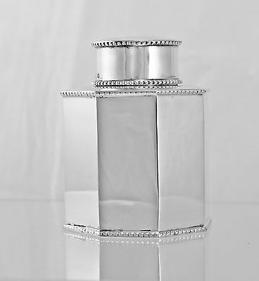 Silver Tea Caddy Octagonal Panelled With  Beaded Edges 1920