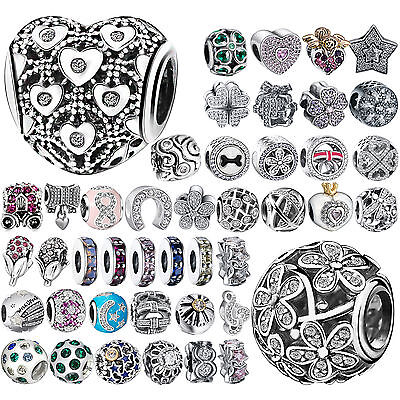 CZ 925 Charms Silver Bead Cubic Zircon Women's Jewelry For Sterling DIY Bracelet