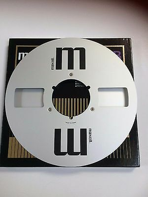 """RARE Maxell 10.5 1/4"""" Reel to Reel Aluminium Spool with box & Labels"""
