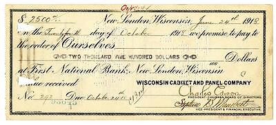 Charles Edison Son of Thomas Signed Check New London Wisconsin 1918