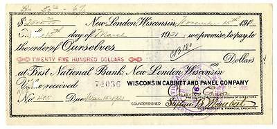 Charles Edison Son of Thomas Signed TWICE Check New London Wisconsin 1920
