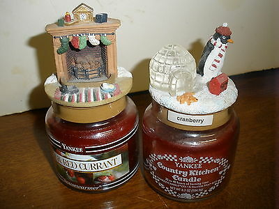 2 Yankee Candle 3.7 NEW candles & vintage toppers Holly & Red Currant, Cranberry