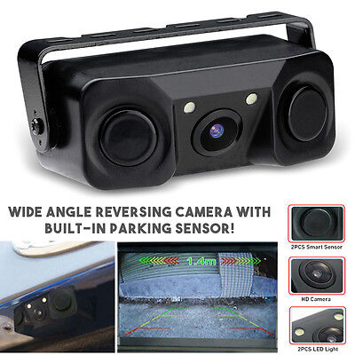 Rear View Reverse Day/Night Car Camera & Built-in Parking Sensors + 2 LED Lights