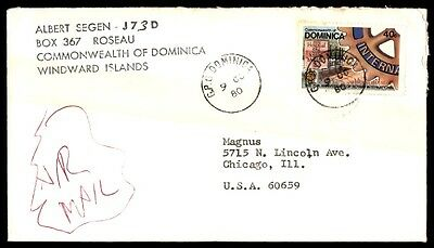 October 9, 1980 Dominica Windward Islands Cover To Usa