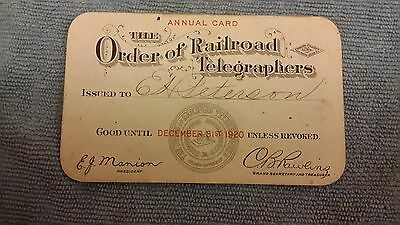 1920 The Order Of Railroad Telegraphers Membership Card Pass