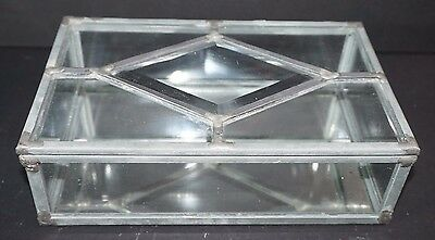 VTG Clear Stained Art Glass Mirror Jewelry Box Hinged Lid Dennis Laurie Bieze