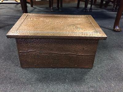 """Antique Vintage Copper Lined Wooden Slipper Box With """"Here They Are"""" Embossed"""