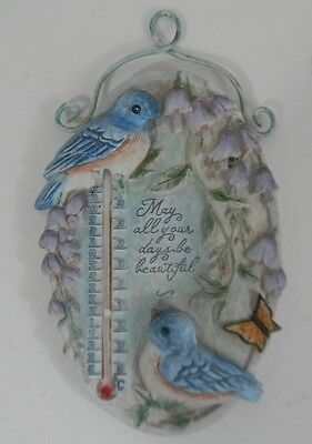 Fahrenheit Celsius Thermometer Bluebirds Resin Wall MayAllYour Days Be Beautiful
