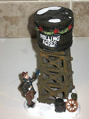 CHRISTMAS VILLAGE  HOUSES accessory ROLLING ACRES WATER TOWER WITH MAN