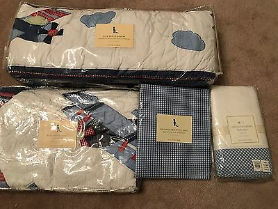 NEW 4pc Pottery Barn Kids AIRPLANE Aviator Crib Quilt Bumper Set BOY