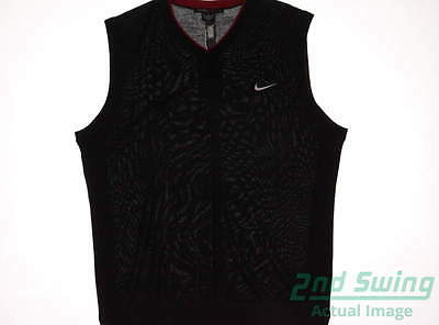 New Mens Nike Golf TW Wool Sweater Vest XX-Large XXL Black MSRP $140 726232 010