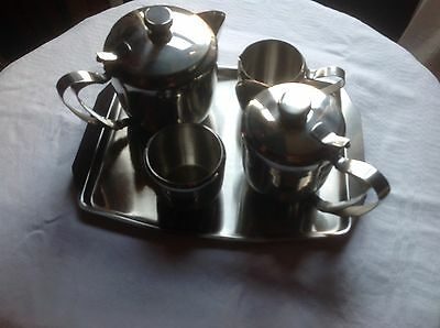 Stainless Steel Tea Set And Tray