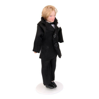 1:12 Scale Dollhouse Porcelain Doll Young Man Groom In Black Suit with Stand