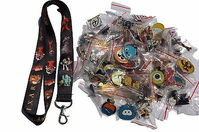 Disney World Pin Trading Lot Lanyard Starter Set Pixar Toy Story Cars w/ 25 Pins