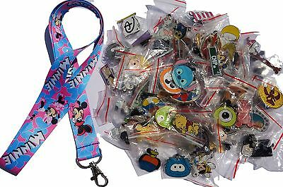 Disney World Pin Trading Lot Lanyard Starter Set Minnie Mouse Hearts w/ 25 Pins