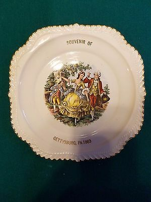 The Harker Pottery Co. Godey Courtship Plate 22 kt gold Gettysburg, Pa 1863