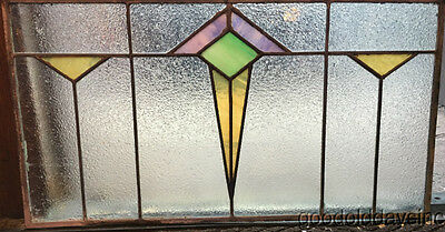 "Antique Art Deco Stained Leaded Glass Transom Window 26"" by 14"""