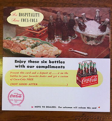 Vintage 1940's 1950's Coca Cola Coke Advertising Card Six Pack of Bottles