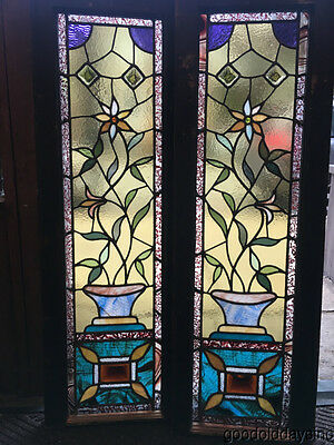 "Pair of Victorian Stained Leaded Glass Sidelights Windows 42"" by 14"""
