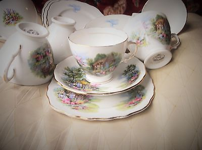5 X Vintage Gilded Trios + Ext Duo & Cake Royal Vale Cottage Garden Design 7382