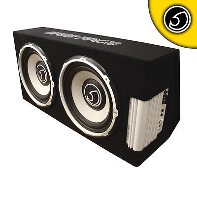 """Bass Face POWER12.2 2600w Twin 12"""" Inch Active Powered Car Sub Box Subwoofer Amp"""