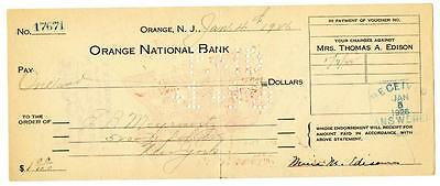 Mina Edison Wife of Thomas Signed 1926 Check Orange National New Jersey Bank