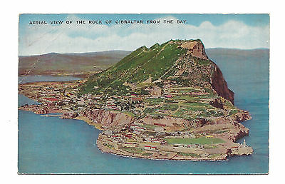 Vintage postcard Aerial View Rock of Gibraltar from The Bay pmk 1960 2½d stamp