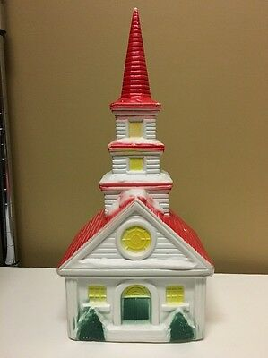 "Vintage Hard Plastic Christmas Church 15 1/4"" H x 7"" W x 5"" D"