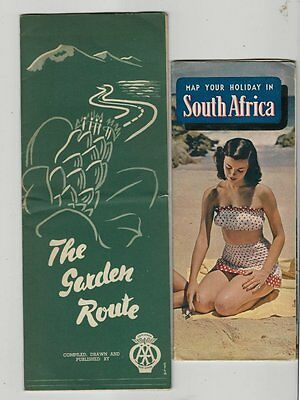 2 - 1951 Fold-out Informational Road Maps of South Africa - Nice Condition