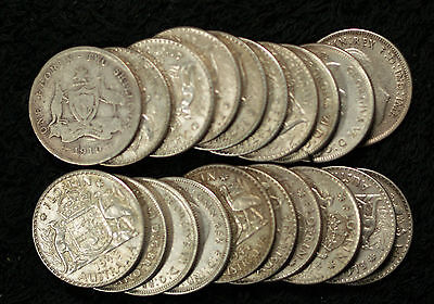 Roll of 20 Australia Silver Florins - 1910-1944
