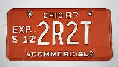 Vintage 1987 Original OHIO Commercial License Plate 2R2T