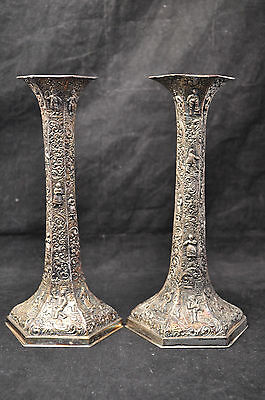 Pair Antique Barbour International Silverplate Repousse Candlestick Holders