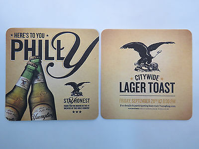 Beer Coaster ~**~ YUENGLING Brewery Since 1829 ~ Philly, PA Citywide Lager Toast