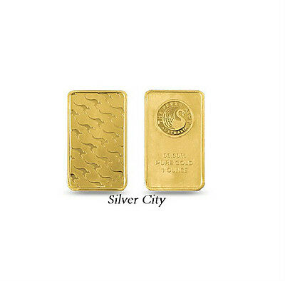 1 Ounce Perth Mint Kangaroo .9999 Fine Gold Bar 1Oz.