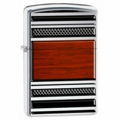 Zippo Steel & Wood High Polish Chrome Windproof Lighter Brand New