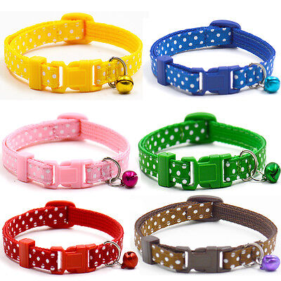 Cute Pet Dog Cat Puppy  Nylon Neck Necklace Bell Chain Adjustable Collar Strap