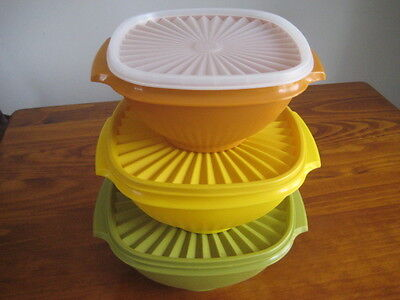 Vintage Tupperware Servalier Salad Bowl Set of 3 -Mixed Lot from 1970's -pre own