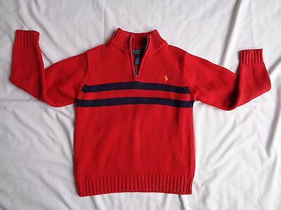 Polo Ralph Lauren Boys Sweater Red  & Blue Stripes Embroidered Pony Nice Size 7